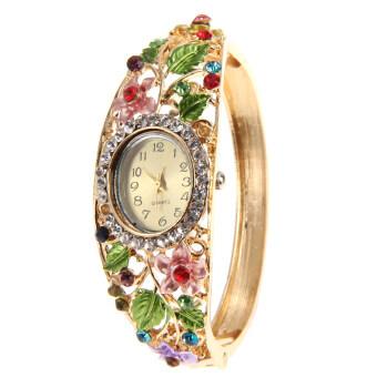 สร้อยข้อมือคริสตัลกำไลแฟชั่นผู้หญิงดอกไม้นาฬิกาควอทซ์คล้ายคลึงเบอร์ 5