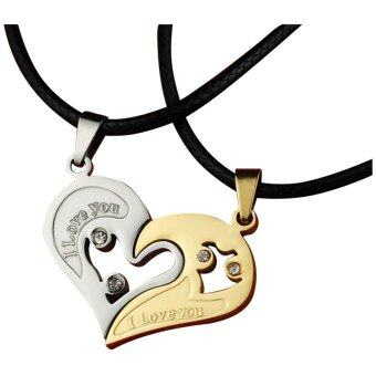 Harga 2Pcs Men Women Lover Couple Necklace I Love You Heart Shape Pendant Chain Jewel White Gold