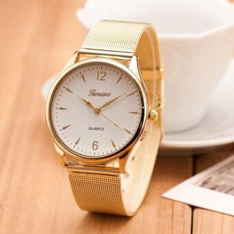 สตรีดีเด่นทองผลึกสเตนเลสนาฬิกาข้อมือขาว
