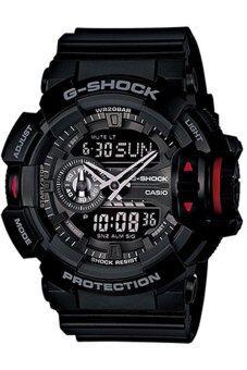 Casio G-Shock ผู้ชายสีดำยางรัดนาฬิกา GA-400-1B
