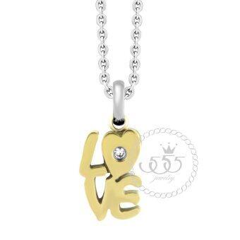 555jewelry จี้เล็กๆแสนน่ารัก ฉลุเป็นคำว่า LOVE ประดับด้วย CZ รุ่น MNC-P088-B สี Yellow Gold