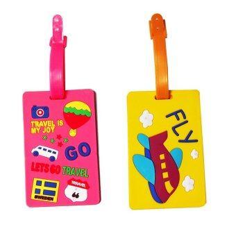 แท็กกระเป๋าเดินทางลายท่องเที่ยว (สีเหลือง/สีชมพู) 2ชิ้น