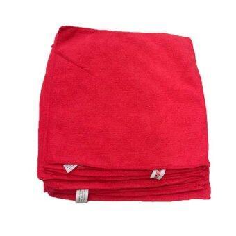 DUPRO ผ้าไมโครไฟเบอร์ แพ็ค 12 ผืน ขนาด 30x30 ซม - สีแดง