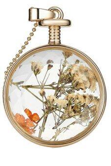 คาถาลบความจำอยู่เสมอ ๆ จี้สร้อยคอจี้ดอกไม้แก้วร้อนโซ่ (ขาว/ส้ม)