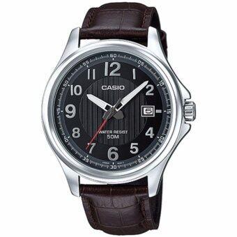 Casio Standard นาฬิกาข้อมือผู้ชาย สีดำ/เงิน สายหนัง รุ่น MTP-E126L-5AVDF