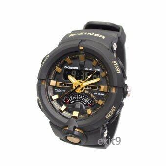 D-ZINER นาฬิกาข้อมือผู้ชาย สายซิลิโคน รุ่นDZ-8174 (ดำ-ทอง)