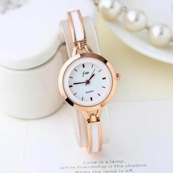 KPshop นาฬิกาผู้หญิงสแตนเลส นาฬิกาข้อมือแฟชั่น นาฬิกาผู้หญิงนิยม รุ่น LC-030 (สีขาว/ทอง)