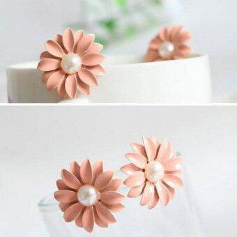 1 คู่ใหม่ที่น่ารักแฟชั่นเกาหลีสีชมพูดอกไม้ต่างหูมุกเดซี่-