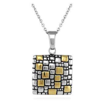 555jewelry จี้สี่เหลี่ยมกัดลาย รุ่น MNPP1006G - Yellow Gold (P15)