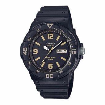 Casio Standard นาฬิกาข้อมือผู้ชาย สายเรซิน รุ่น MRW-200H-1B3VDF (สีดำ/หน้าปัดสีดำทอง)