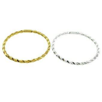 Tfine กำไลมือตัดลายเกลียวชุบทองกับทองขาวแท้