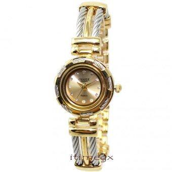 CHAPZE นาฬิกาข้อมือผู้หญิง หน้าปัดสีทอง เปลี่ยนกรอบได้ 4 แบบ