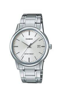 Casio Standard นาฬิกาข้อมือ สายสแตนเลส รุ่น MTP-V002D-7AUDF - สีเงิน/หน้าขาว