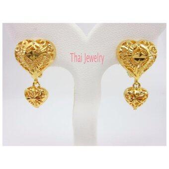 Thai Jewelry ต่างหูทอง ฉลุลายหัวใจ ห่วง ห้อยหัวใจ งานชุบทองไมครอน หุ้มทอง 100%