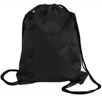 ถุงผ้าไนลอนเชือกรัดแน่นกระเป๋าเป้กระเป๋ากีฬากลางแจ้งท่องเที่ยวสีดำ