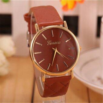 นาฬิกาสายหนังคลาสสิคที่เจนีวาผู้หญิงแฟชั่นนาฬิกาควอทซ์ (สีน้ำตาล)