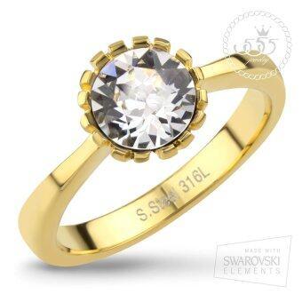 555jewelry เครื่องประดับ ผู้หญิง แหวน สแตนเลสสตีล - แหวนน่ารักประดับ CZ สีขาวตัวเรือน สี ทอง รุ่น MNC-R552-B