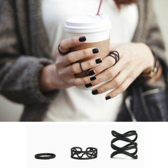 BUYINCOINS Women Punk Black Stack Plain Above Knuckle Ring Midi Finger Tip Rings Set 3PCS -
