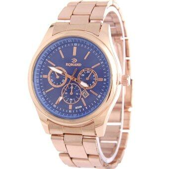 MEGA Calendar Wristwatch ปฏิทินนาฬิกาข้อมือผู้หญิง-ชาย สาย Stainless รุ่น MG0005 (Blue)
