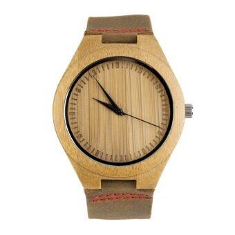Allwin นิวแฟชั่นนาฬิกาสายหนังแท้ของผู้ชายไม้ป่าไผ่นาฬิกา (สีแดง)