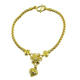 Tfine สร้อยข้อมืออิตาลี7นิ้วดอกไม้หัวใจตัดลายข้างชุบทองไมครอน