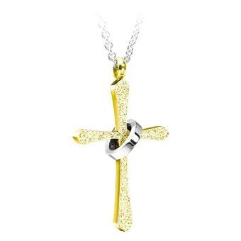 555jewelry จี้กางเขนสี Yellow Gold รุ่น MNC-P135-B ประดับด้วยแหวนสี Gold