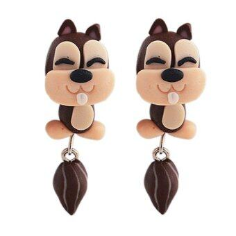 Harga Bluelans Women's Polymer Clay Squirrel Earrings Cartoon Ear Studs Brown