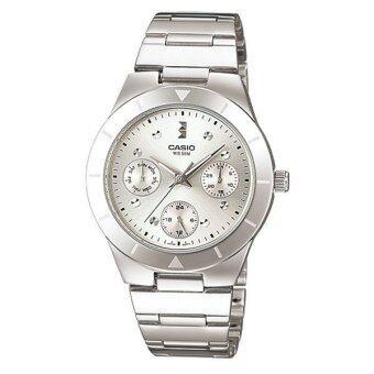 CASIO lady นาฬิกาข้อมือผู้หญิง สีเงิน สายสแตนเลส LTP-2083D-7AVDF