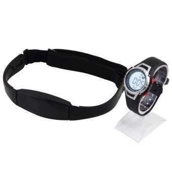 โอ้ตัววัดอัตราการเต้นของหัวใจช่วยกันน้ำนิยมใช้สายรัดอกนาฬิกาสปอร์ตสีดำ