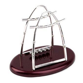 Allwin เปลของนิวตันยอดเหล็กร้อนฟิสิกส์วิทยาศาสตร์ลูกตุ้มนาฬิกาตั้งโต๊ะของขวัญลูกแดงเข้ม