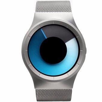 MEGA Concept Unisex Young Simple Fashion Watch Dial Changing Stainless Mesh Watchband แนวคิดหนุ่มสาวง่ายแฟชั่น นาฬิกาข้อมือ สายนาฬิกาข้อมือสแตนเลสตาข่าย รุ่น MG0028 (Silver/Blue)