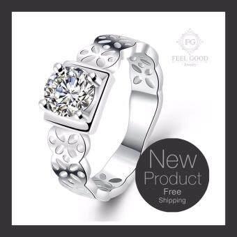 Feel Good Jewelry แหวนเงินแท้ ประดับด้วยเพชร CZ ตัวเรือนสลัก 925 รุ่น FGR017