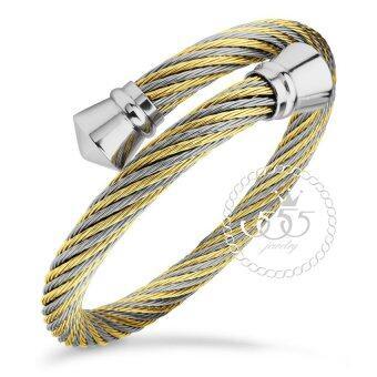 555jewelry กำไล สแตนเลสสตีล ลายเกลียว รุ่น MNC-BG241-B1 (สีทองสลับสตีลเงิน)