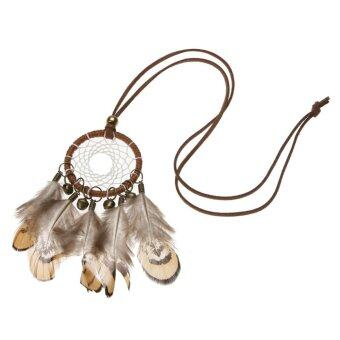 Harga Indian National Bell Feather Dream Catcher Sweater Chain Necklace - intl