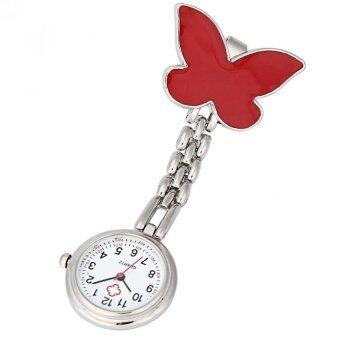 คลิปที่บนเข็มกลัดจี้ห้อยนาฬิกาสายนาฬิกากระเป๋าผีเสื้อสีแดง