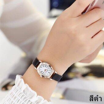 แฟชั่นผู้หญิง Watch นาฬิกาข้อมือผู้หญิง สายหนังพียู รุ่น(black)