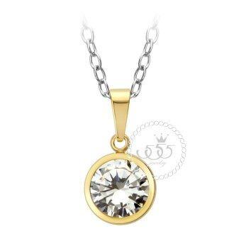 555jewelry จี้เล็กๆฝังหุ้ม CZ รุ่น MNC-P526-B สี Yellow Gold