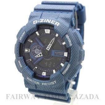 D - ZINER นาฬิกาข้อมือแนว SPORT ชาย 2 ระบบ(ANALOG&DIGITAL)กันนํ้า100% สายยางพิมพ์ลายผ้ายีนส์ รุ่น DZJ-002