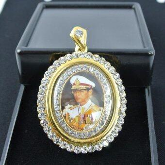 Pearl Jewelry เข็มกลัดในหลวง 9 รัชกาล ล้อมเพชร AB1 งานไทย