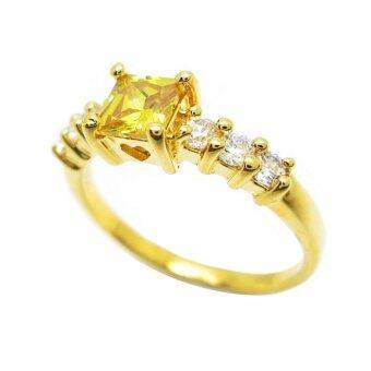 Tangems แหวนฉลุหัวใจพลอยบุศราคัมประดับเพชรข้าง รุ่น 1971 (ทอง/บุศราคัม/เพชร)