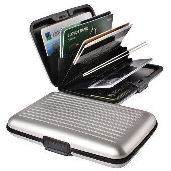 TravelGear24 กระเป๋าอลูมิเนียม ใส่บัตรเครดิตการ์ด/นามบัตร/ATM ป้องกันการสแกนบัตร Aluminum Bag Credit card / business card / ATM Box (Silver/สีเงิน)