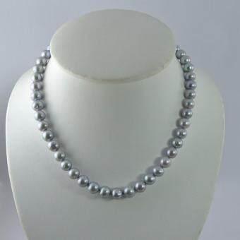 Pearl Jewelry สร้อยคอมุก เทา น้ำเค็ม เม็ดกลมตามธรรมชาติ PJ208