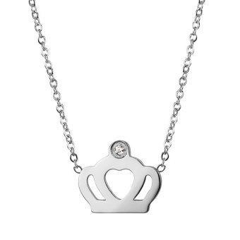 555jewelry จี้พร้อมสร้อย สแตนเลสสตีล - จี้คู่รักดีไซน์สวยรูปมงกุฎ (สี Steel)