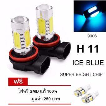 LED หลอดไฟรถยนต์ หลอดไฟตัดหมอก H 11 แสงสีฟ้า จำนวน 1 คู่ (ICE BLUE) แถมฟรี ไฟหรี่ SMD แท้ 100% มูลค่า 250 บาท