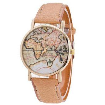 Harga Fashion Brand Women Casual Quartz Wristwatch Leather Band Ladies Watch (Beige)