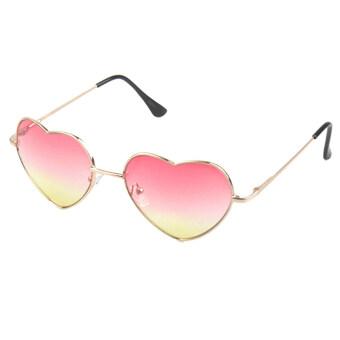 แฟชั่นผู้หญิงน่ารักออกแบบแว่นตาแว่นตากันแดดแว่นสายตาหัวใจกลางแจ้งการตกแต่งสีชมพู