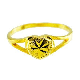 Tfine แหวนหัวใจตัดลายชุบทอง
