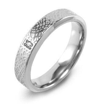 555jewelry แหวนกัดลายหนังรอบวง ประดับ CZ สีขาว รุ่น MNR-071T-A ( สี Steel )