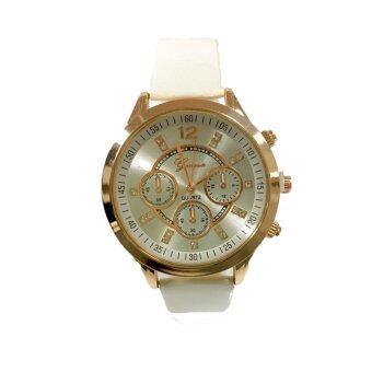 (New) GENEVA watch นาฬิกาข้อมือแฟชั่นผู้หญิง หลากสี ขอบทอง รุ่น WM0092-95