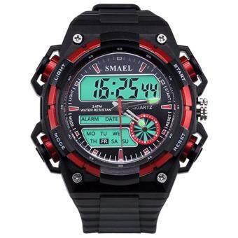 MEGA กันน้ำ กีฬา นาฬิกาข้อมือ ชายและหญิง Sport Watch Dual Time Display LED Digital Quartz Waterproof 50M รุ่น MG0030 (Red)